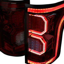 2x Direct Fit Red Smoked 3D LED C-Strip Style Tail Lights Pair For 15-17 F150
