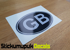 "GB Silver & Black Classic Car Van Bumper Window Sticker Decal 5""  / 125mm Wide"