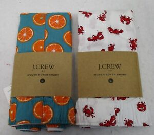 Two Men's J Crew Boxers Large Lobsters & Oranges NWT