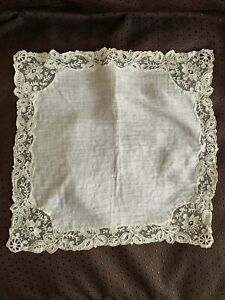 Antique French linon handkerchief, Alençon Needle lace