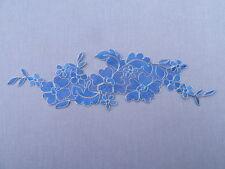 32cm x 9.5cm BTIFUL APPLIQUE LACE TRIM BLUE & GOLD AP11