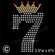 Seventh Birthday Rhinestone/Diamante Transfer Hotfix Ironon Motif with Free Gift