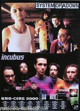 Incubus Sno-Core System of A Down 2000 Original Promo Poster