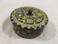Vintage - Daher Tin - Round Metal Flowers Multicolored Black Embossed Enameled