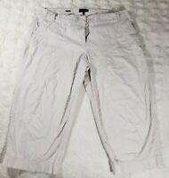 Talbots Womans Pants Size 18W Heritage Ivory Capri Cropped Drawstring 40x23