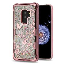 SAMSUNG GALAXY S9 PLUS G965 BUTTERFLY ROSE FLOWER TUFF LITE QUICKSAND CASE COVER