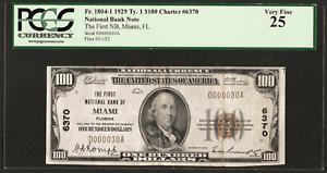 FL 1929 $100 VERY LOW S/N:D000030A  ♚♚MIAMI, FLORIDA♚♚   PCGS VF 25