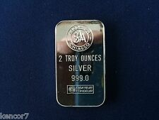 Argor SA Chiasso Switzerland Two Ounce Proof Silver Art Bar E4169