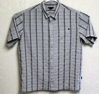 O'Neill Mens Light Grey Plaid Button Front Short Sleeve XXL Shirt EUC