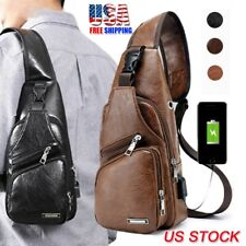 USA Men's Shoulder Bag Sling Chest Pack USB Charging Sports Crossbody Handbag