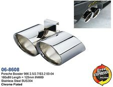 Exhaust tip dual Tailpipe trim S/S-Chromed for Porsche Boxster 986 2.5 2.7 S3.2