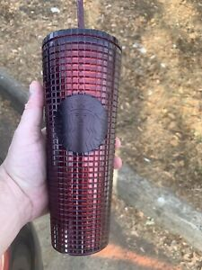 Starbucks 2020 Holiday - Studded Grid Cold Cup Tumbler - Venti - Berry Plum