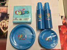 SET PLASTICA CELESTE piatti bicchieri tovaglioli monouso colorati