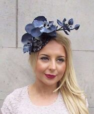 Grey Blue Silver Black Lace Orchid Flower Fascinator Hat Races Headband Vtg 2674