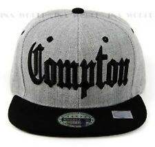COMPTON hat 3D embroidered Snapback Baseball cap Flat Bill- Heather Grey/Black