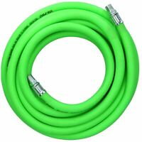 "10m Air Hose 1/4"" BSP Male Threads Soft Rubber High Visibility Compressor Line"