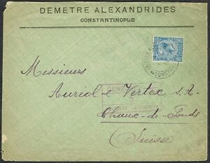 British Levant 1919 Cover to Switzerland KGV 2 1/2d Blue 'BRITISH A.P.O' CDS