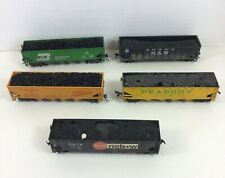 HO Coal Hopper Freight Cars with Loads Peabody Burlington Union Pacific Lot of 5
