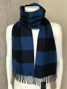 TED BAKER BLUE BLOCK CHECK FRINGED SCARF BNWT