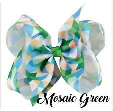 Jojo Siwa 5 Inch Mosaic Grosgrain Ribbon Hair Bow Clip - MOSAIC GREEN