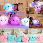 Cute Night LED Light Up Glow Pillow Soft Cosy Relax Stars Heart Square Cushion