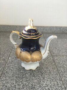 Hutschenreuther Kanne Kaffeekanne Goldrand Sammler Porzellan 0182 Antik groß