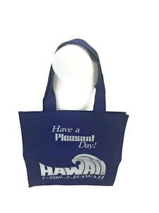 Vintage 1970s 1980s Hawaii Travel Agent Tote Bag Have A Pleasant Day Blue Nylon
