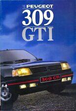 Peugeot 309 GTI 1987 Swiss folleto de ventas de mercado texto alemán