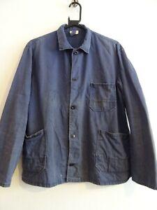 Vintage French faded indigo blue hobo work chore workwear jacket