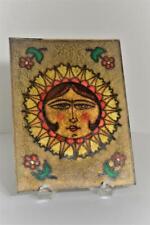 """Vintage Sun Face Glass Foil Paint Colorful Plaque 7 3/4"""" x 6"""""""