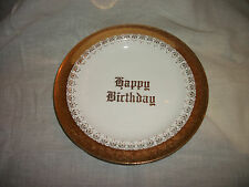 Unusual Vintage Eastern China Gold Trimmed Happy Birthday Plate 8 1/4""