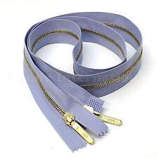 "RiRi Zipper Metal 4, 2 Way Separating End, Brass, Light Blue 2512, Lang S, 34.5"""