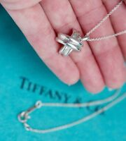 Tiffany & Co Sterling Silver Signature Cross Charm Pendant Necklace 16 Inch