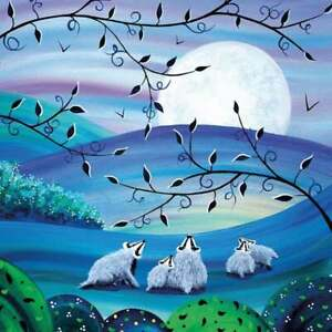 Badgers Moon Greeting Card by Nikky Corker