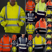 HI VIZ VIS HOODED SWEATSHIRT HIGH VISIBILITY REFLECTIVE WORKWEAR FLEECE JACKET