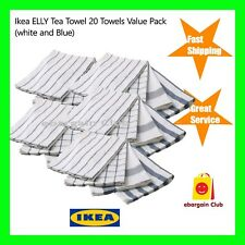 20 x IKEA ELLY 100% Cotton Tea Towel Bulk Value Pack White & Blue 50cmx65cm eBC