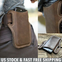 Mens Waist Bag Genuine Leather Universal Cell Phone Holster Protection Belt Case