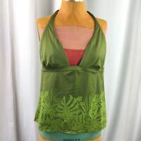 Victorias Secret Womens Tankini Swim Top Green Jungle Halter Size XL