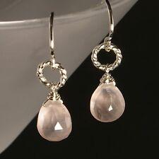 Beautiful Genuine Pink Rose Quartz Dangle Drop Silver Ring Handmade Earrings NEW