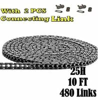 #25H Heavy Duty Roller Chain 10 Feet with 2 Connecting Links
