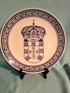 """CONIMBRICER """"AQUARIO"""" HAND PAINTED BLUE AND WHITE 11""""DISPLAY PLATE"""