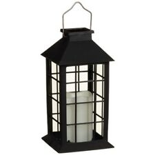 Solar Powered Lantern with Candle- Black- Gives a Warm and  Elegant Look!