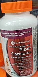Member Mark Fiber Capsules 100% Natural Psyllium Husk, Metamucil 400 ct Bottle