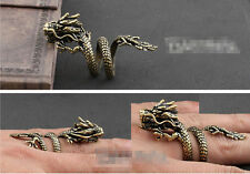 New Fashion Man Women Jewerly China Loong Dragon Bronze Copper Ring Adjustable