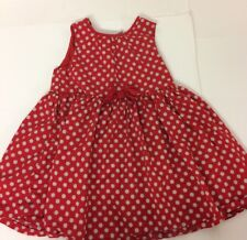 H&M Baby Girls Red With White Spots Sun Dress Cotton Sleeveless Bow Summer