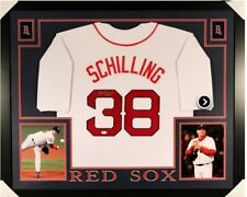 Curt Schilling Signed Boston Red Sox 35x43 Custom Framed Jersey JSA Witnessed...