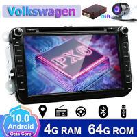4GB+64GB Android 10.0 DAB+Autoradio For VW Passat Golf Touran DVD CD GPS BT-4.0
