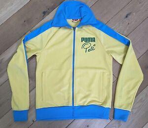 Vintage 90s Puma Pele Track Top Jacket Yellow & Blue Size Men's Small