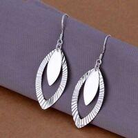 Damen Ohrhänger Oval Ohrringe 925 Sterling Silber plattiert Schmuck