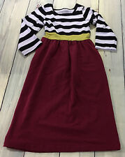 Girls Long Sleeve Maxi Dress Size XS 12-18M  Black White Stripe Maroon Red